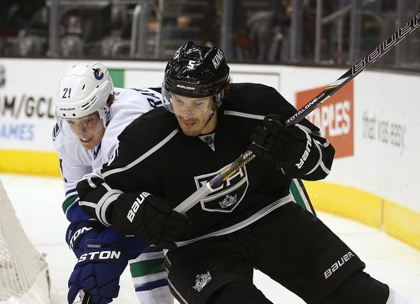 Keaton Ellerby, right, shown battling Vancouver's Mason Raymond, will likely make his second career playoff appearance Tuesday against St. Louis.