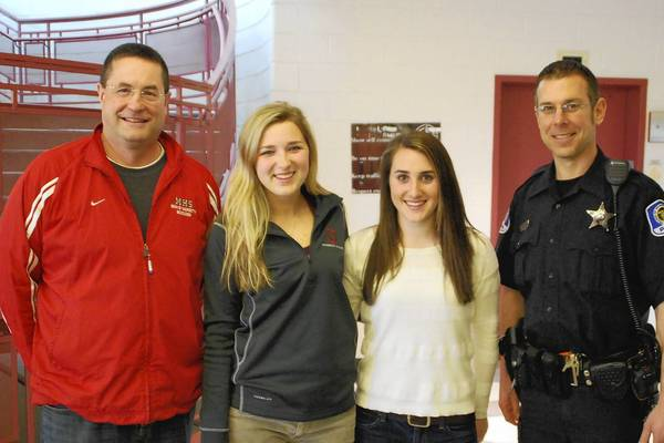 Local Operation Click participants include (from left) Mike Dayton, Lucy Zimmer, Aubrey Larkin and Officer Brian Kisselburg, a Mundelein High School police liaison.