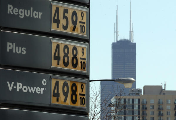 Gasoline prices remain high at a station near North Avenue in Chicago despite a statement by AAA that motorists nationwide are paying the lowest springtime gas prices in three years.