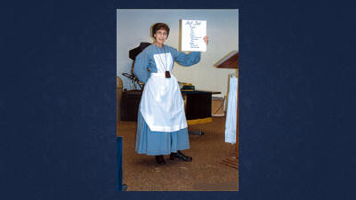 "Christine Sechler of Kingwood Grange is attired in a typical Civil War Era nursing outfit worn by the original Corp of Nurses, which was authorized by Congress in 1861. The retired educator presented an educational program that featured ""Nursing During the Civil War"" for the Pomona Grange's first spring visitation program."