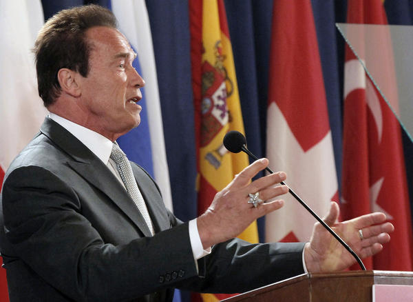 Former California Gov. Arnold Schwarzenegger discusses immigration reform Tuesday at the USC Schwarzenegger Institute for State and Global Policy.