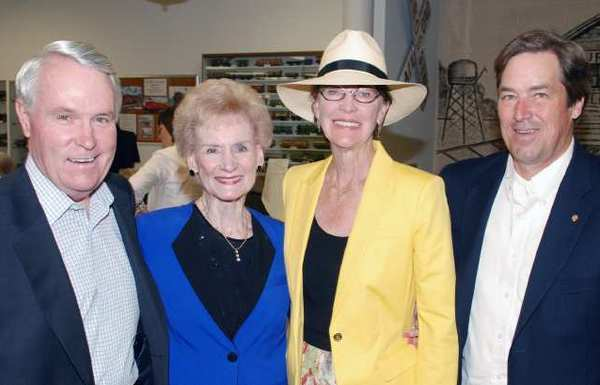 Former Burbank Mayor Tom Flavin, left, with, from left, Mary Jane Strickland, Vice Mayor Emily Gabel-Luddy and Mayor Dave Golonski at the Gordon R. Howard Museum.