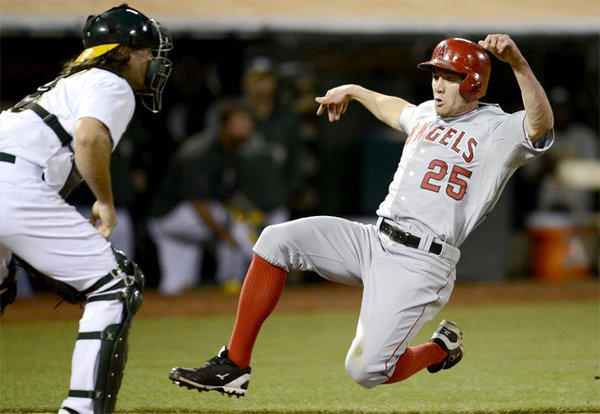 Angels outfielder Peter Bourjos strained his left hamstring during the team's 19-inning loss to the Athletics early Tuesday morning.