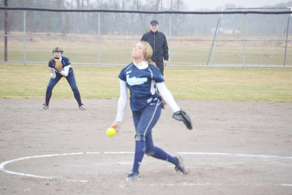Petoskey senior pitcher Annie Hansen delivers during the opening game of Monday's non-league doubleheader against Cheboygan at the Cheboygan High School softball field. The Northmen fell to the Chiefs, 13-11, 10-5.