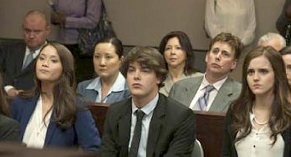 """LAPD Officer Brett Goodkin, far left, appears in the background of a scene in """"The Bling Ring."""""""
