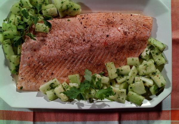 Oven-steamed salmon with cucumber salad.
