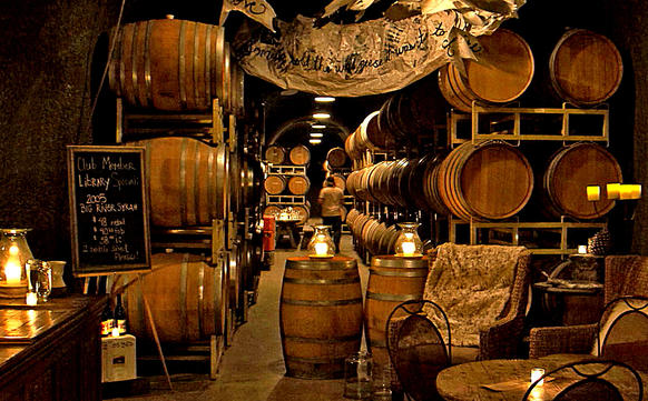 A view of the barrel room at Bella Vineyards, one of many wineries in Santa Rosa.