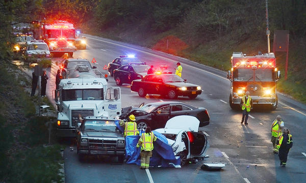 One person was killed and five people were taken to Meritus Medical Center after a multivehicle crash on Interstate 70 near the Washington-Frederick county line Tuesday evening.