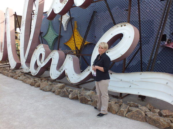 Guide Amy Hubbard explains the history of the Moulin Rouge and its sprawling sign during a tour of the Neon Museum in Las Vegas.