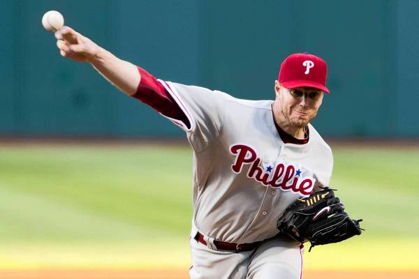 Phillies starting pitcher Roy Halladay yielded eight runs and nine hits in 3-plus innings in the loss to Cleveland.