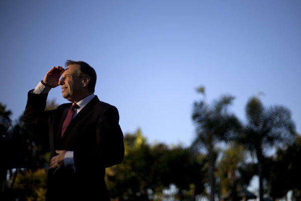 Former Congressman Bob Filner, now San Diego mayor, looks into the sun during a 2012 news conference in the city.