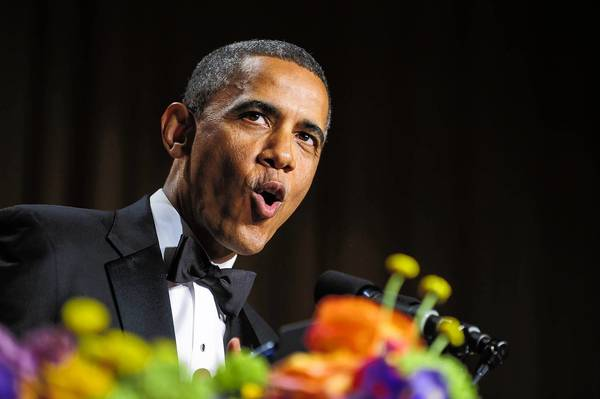President Barack Obama jokes during Saturday's White House Correspondents' Association dinner in Washington. Some of his comments seemed to reveal the frustration of a second-termer.