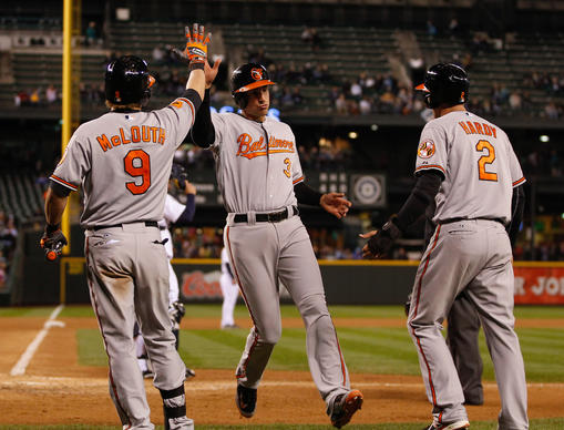 Ryan Flaherty is congratulated by Nate McLouth and J.J. Hardy after scoring in the sixth inning.