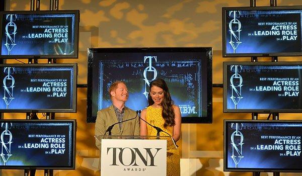 Actors Jesse Tyler Ferguson and Sutton Foster during the 2013 Tony Awards Nominations Ceremony.