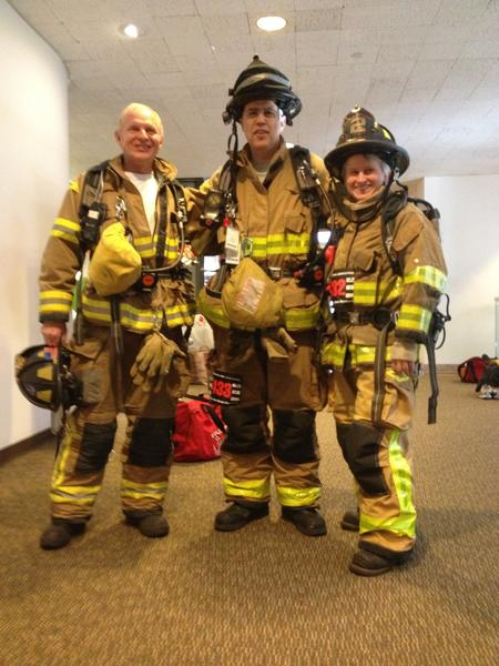 Three members of the Avon Volunteer Fire Department participated in the American Lung Association's recent Fight for Air Climb in Hartford. Pictured from left to right are Firefighter Dave Costill, Captain Dave Bourgoin, and Firefighter Ramona Mansfield.