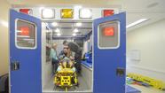 An Aberdeen EMS crew locked itself in its ambulance Tuesday night when it arrived at a call in Perryman and encountered a large fight.