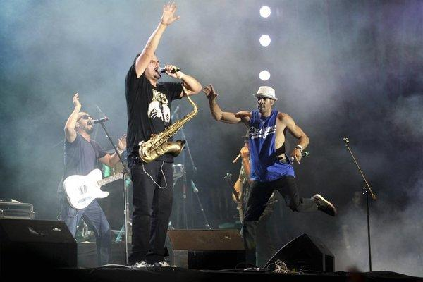 The Los Angeles-based band Ozomatli performs during the Cumbre Tajin 2013 music festival in Papantla, Mexico.