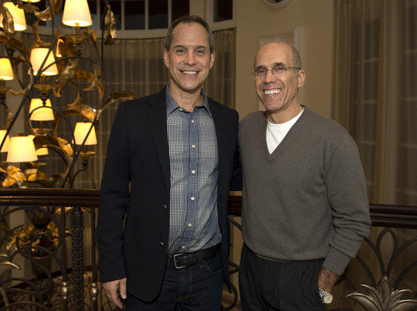 DreamWorks Animation CEO Jeffrey Katzenberg, at right, struck a deal to acquire online teen network AwesomenessTV, founded by Brian Robbins, for $33 million in cash.