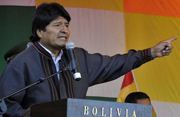 Bolivia President Evo Morales speaks during an official meeting celebrating May Day in La Paz on Wednesday.