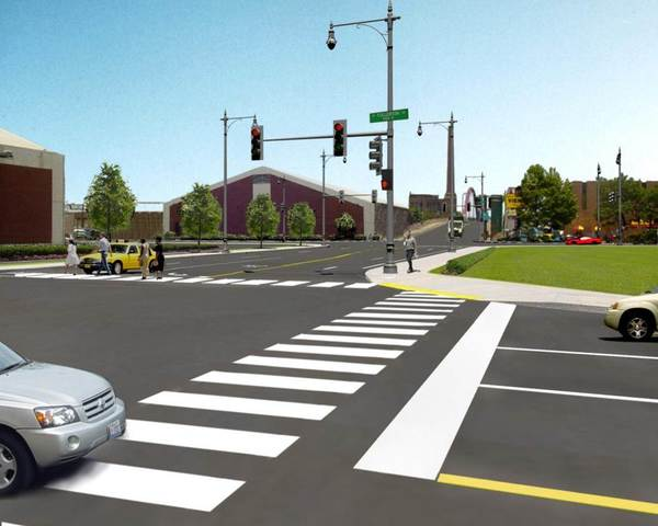Proposed reconfigured intersection of Damen and Fullerton avenues.