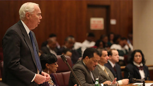 33rd ward Alderman Richard Mell speaks out at the Chicago City council meeting on April 10.