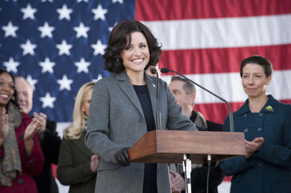 "Julia Louis-Dreyfus as Vice President Selina Meyer in HBO's ""Veep."""