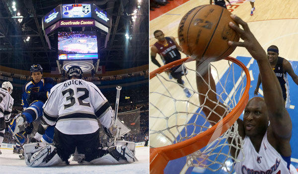 FS West found itself in a quandary when Jonathan Quick and the Kings went into overtime at the same time Lamar Odom and the Clippers were beginning.