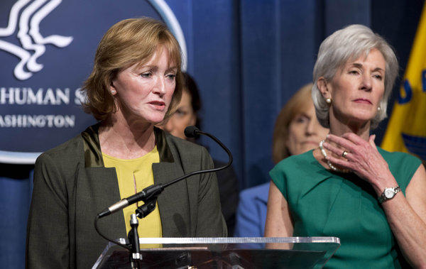 Centers for Medicare and Medicaid Services acting Administrator Marilyn Tavenner, left, and Health and Human Services Secretary Kathleen Sebelius.