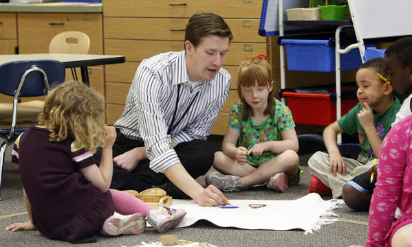 Ted Church, an early childhood teacher at Marquette Primary Montessori Academy, has been named Teacher of the Year for Region V by Magnet Schools of America. Hes now in the running for the national award. (South Bend Tribune/GREG SWIERCZ)
