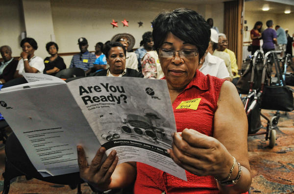 Katie Davis, of Miramar, was among more than 100 seniors brushing up on their hurricane preparedness knowledge at Memorial Regional Hospital South in Hollywood Wednesday morning.