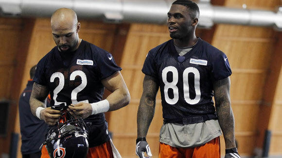 Matt Forte and Earl Bennett are shown at Bears minicamp last month in Lake Forest.