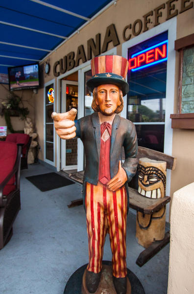 Uncle Sam watches over Cubana Cigars in Laguna Beach, making sure no real Cuban cigars are enjoyed.