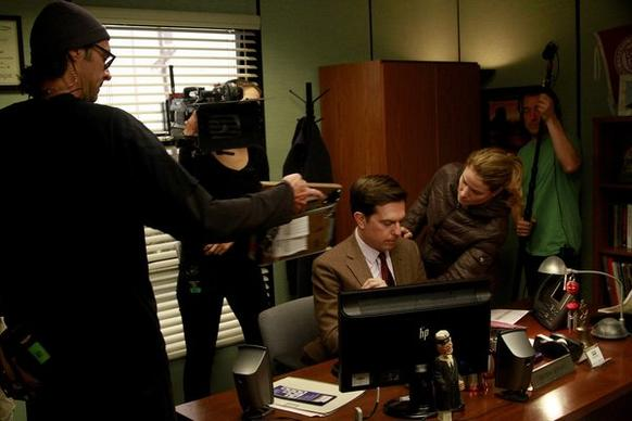"""The Office"" will cap its nine-season run on NBC in May with a one-hour farewell. Ed Helms is prepped for a shoot."