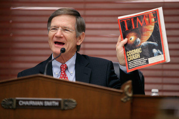 House Science, Space and Technology Committee Chairman Lamar Smith (R-Texas) during a hearing on Capitol Hill. His draft bill on National Science Foundation funding was made public by Science magazine.