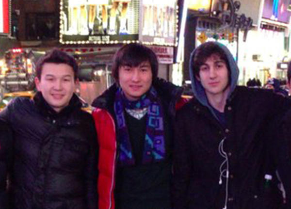 Boston marathon bombing suspect Dzhokhar Tsarnaev (R) poses with Azamat Tazhayakov (L) and Dias Kadyrbayev in an undated photo taken in New York.