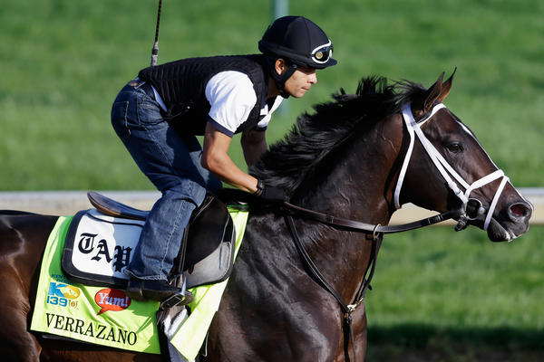 LOUISVILLE, KY - MAY 01: Exercise rider Humberto Zamora rides Kentucky Derby hopeful Verrazano during morning training in preparation for the 2013 Kentucky Derby at Churchill Downs on May 1, 2013 in Louisville, Kentucky. (Photo by Rob Carr/Getty Images) ORG XMIT: 167448610
