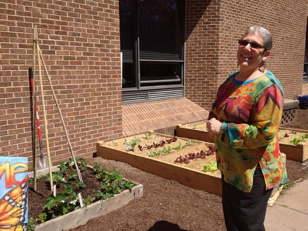 Hall High School teacher Elizabeth Devine shows off the new Hall Community Garden.