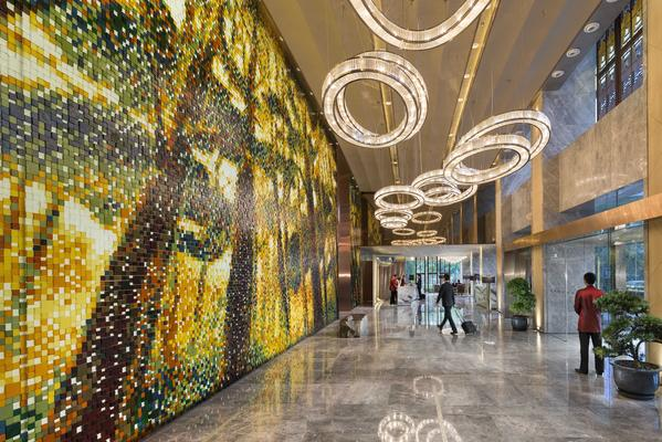 Massive artwork decorates the lobby of the new Mandarin Oriental in Pudong, Shanghai.