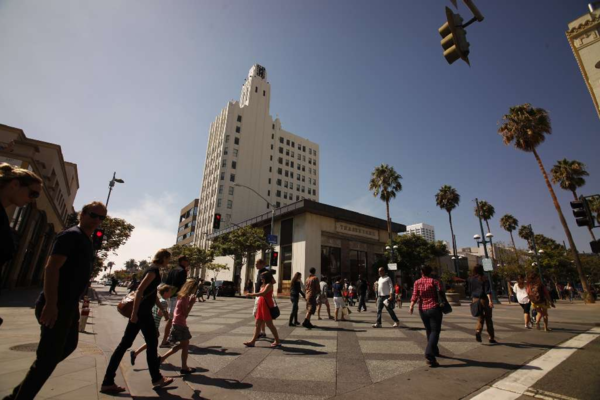 The Clock Tower building near the Third Street Promenade in Santa Monica was completed in 1929.