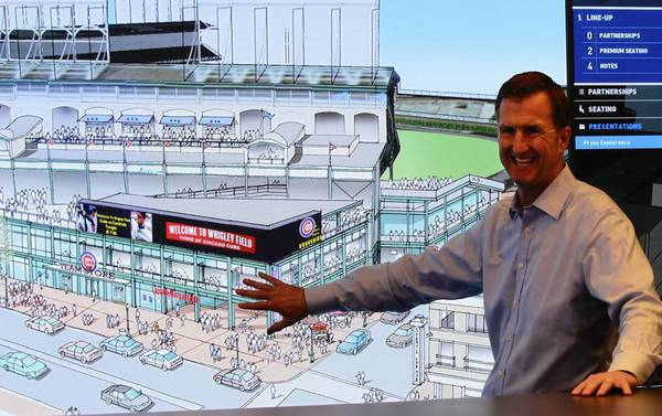 Cubs President Crane Kenney details renovation plans for Wrigley Field and adjoining properties this week. In all, the team is pitching 41,000 square feet of advertising space — most of it outside the stadium.