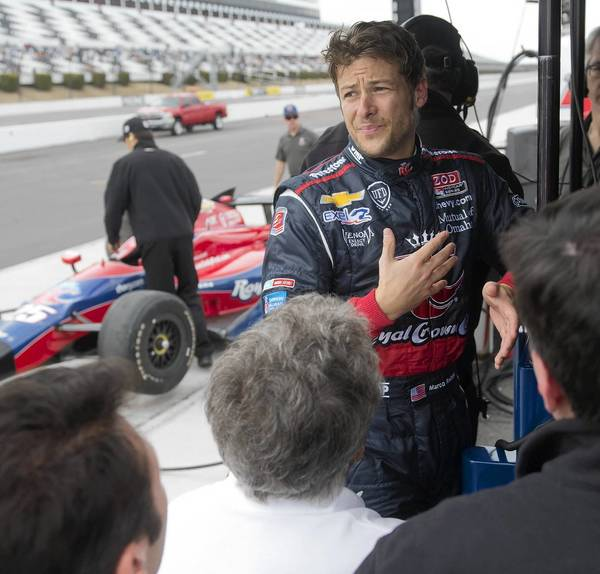 Marco Andretti takes part in the Firestone Tire test at the Pocono International Raceway in Long Pond on Wednesday April 9, 2013.