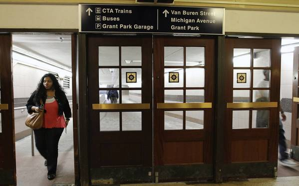The Metra Van Buren Station displays the new signs the Regional Transportation Authority is rolling out across Chicago to better serve commuters and demystify public transit.
