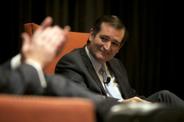 Republican Sen. Ted Cruz of Texas smiles during an event held by the Austin Chamber of Commerce in Austin last month. National Review reported Wednesday that Cruz is mulling a run for the presidency.