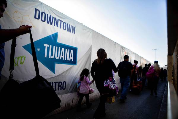 A U.S. port of entry in Tijuana. Mexican President Enrique Peña Nieto is unlikely to talk publicly about immigration during President Obama's visit.
