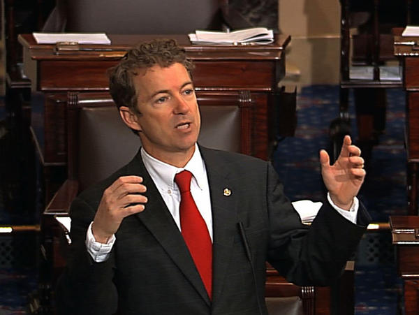 This video frame grab provided by Senate Television shows Sen. Rand Paul (R-Ky.) speaking on the floor of the Senate on Capitol Hill in Washington. Paul stalled the chamber to start what he called a filibuster of John Brennan's nomination to be CIA director.