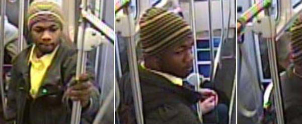 Surveillance photos of a man suspected of inappropriately touching two girls April 11 on a Red Line train.