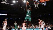 NEW YORK -- The Boston Celtics used a balanced scoring attack to turn back the New York Knicks 92-86 in Game 5 of the Eastern Conference quarterfinals Wednesday at Madison Square Garden.