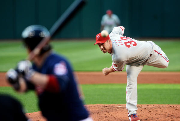 Philadelphia Phillies starting pitcher Cliff Lee (33) throws a pitch during the first inning against the Cleveland Indians at Progressive Field on Wednesday night.