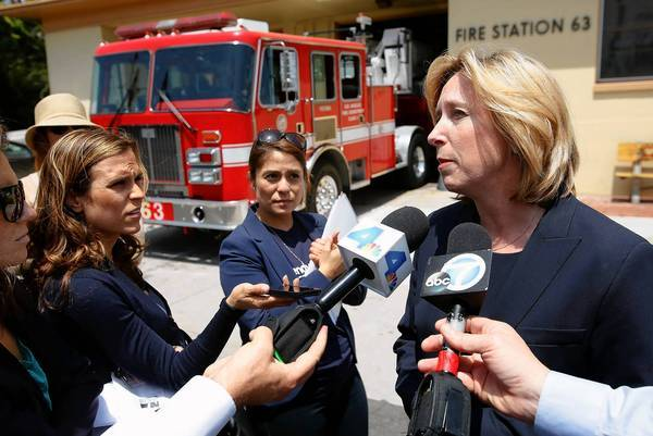 Wendy Greuel addresses the media outside a fire station in Venice last month.