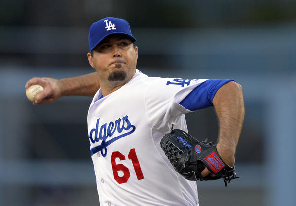 Dodgers starting pitcher Josh Beckett has made six starts this season without earning a victory.